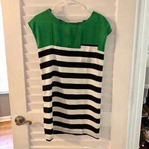 Cute green dress with blue and white stripes 👗